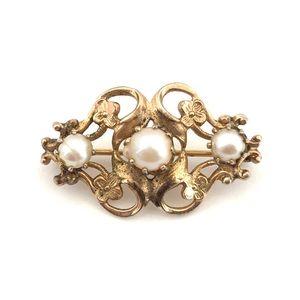 Vintage Genuine Pearl Gold Tone Floral Brooch